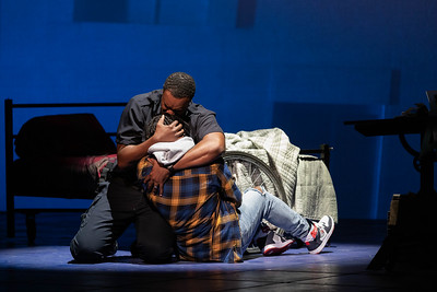 "Kenneth Kellogg as The Father and Aaron Crouch as The Son in The Glimmerglass Festival's 2019 world premiere of Jeanine Tesori and Tazewell Thompson's ""Blue."" Photo: Karli Cadel/The Glimmerglass Festival"