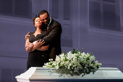 "Briana Hunter as The Mother and Kenneth Kellogg as The Father in The Glimmerglass Festival's 2019 world premiere of Jeanine Tesori and Tazewell Thompson's ""Blue."" Photo: Karli Cadel/The Glimmerglass Festival"