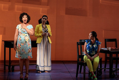 "(From left) Briana Hunter as The Mother, Mia Athey as Girlfriend 3 and Brea Renetta Marshall as Girlfriend 2 in The Glimmerglass Festival's 2019 world premiere of Jeanine Tesori and Tazewell Thompson's ""Blue."" Photo: Karli Cadel/The Glimmerglass Festival"