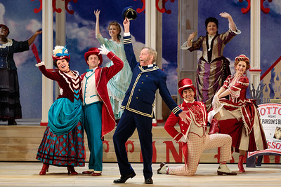 "(From left) Judith Skinner as Queenie, Alyson Cambridge as Julie La Verne, Charles H. Eaton as Steve Baker, Lauren Snouffer as Magnolia Hawks, Lara Teeter as Cap'n Andy, Schyler Vargas as Frank Schultz, Klea Blackhurst as Parthy Ann Hawks, and Abigail Paschke as Ellie Mae Chipley in The Glimmerglass Festival's 2019 production of ""Show Boat."" Photo Credit: Karli Cadel/The Glimmerglass Festival"