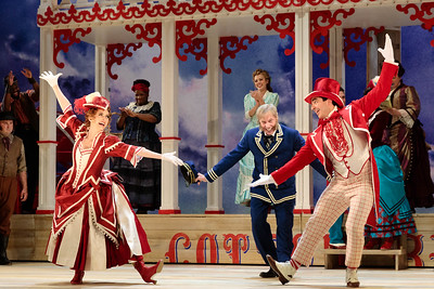 "(From left) Spencer Hamlin as Pete, Justin Hopkins as Joe, Abigail Paschke as Ellie Mae Chipley, Judith Skinner as Queenie, Lauren Snouffer as Magnolia Hawks, Lara Teeter as Cap'n Andy and Schyler Vargas as Frank Schultz in The Glimmerglass Festival's 2019 production of ""Show Boat."" Photo Credit: Connor Lange/The Glimmerglass Festival"