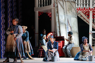 "(Front from left) Imara Miles, Mia Athey, Danielle Jackman and members of the ensemble in The Glimmerglass Festival's 2019 production of ""Show Boat."" Photo Credit: Karli Cadel/The Glimmerglass Festival"