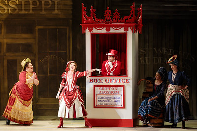 "(From left) Kayla Siembieda, Abigail Paschke as Ellie Mae Chipley Schyler Vargas as Frank Schultz, Danielle Jackman and Mia Athey in The Glimmerglass Festival's 2019 production of ""Show Boat."" Photo Credit: Karli Cadel/The Glimmerglass Festival"