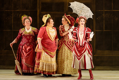 "(From left) Marie Woodward, Kayla Siembieda, Joanna Latini and Abigail Paschke as Ellie Mae Chipley in The Glimmerglass Festival's 2019 production of ""Show Boat."" Photo Credit: Karli Cadel/The Glimmerglass Festival"