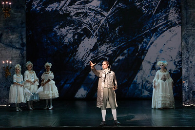 (Center) Jonathan Bryan as Beaumarchais and members of the ensemble  in The Glimmerglass Festival's 2019 production of The Ghosts of Versailles. Photo: Karli Cadel/The Glimmerglass Festival