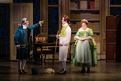 (From left) Brian Wallin as Count Almaviva, Ben Schaefer as Figaro and Kayla Siembieda as Susanna in The Glimmerglass Festival's 2019 production of The Ghosts of Versailles. Photo: Karli Cadel/The Glimmerglass Festival