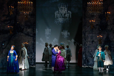 (Front from left) Joanna Latini as Rosina, Spencer Britten as Léon, Emily Mirsch as Florestine and Brian Wallin as Count Almaviva in The Glimmerglass Festival's 2019 production of The Ghosts of Versailles. Photo: Karli Cadel/The Glimmerglass Festival