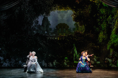 (From left) Jonathan Bryan as Beaumarchais, Yelena Dyachek as Marie Antoinette, Joanna Latini as Rosina and Katherine Maysek as Cherubino in The Glimmerglass Festival's 2019 production of The Ghosts of Versailles. Photo: Karli Cadel/The Glimmerglass Festival