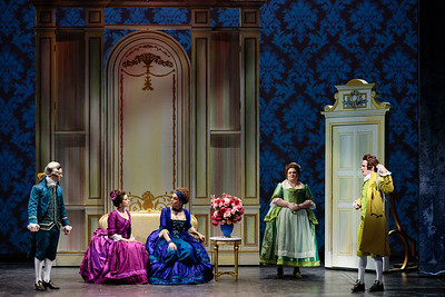 (From left) Brian Wallin as Count Almaviva, Emily Mirsch as Florestine, Joanna Latini as Rosina, Kayla Siembieda as Susanna, and Ben Schaefer as Figaro in The Glimmerglass Festival's 2019 production of The Ghosts of Versailles. Photo: Karli Cadel/The Glimmerglass Festival