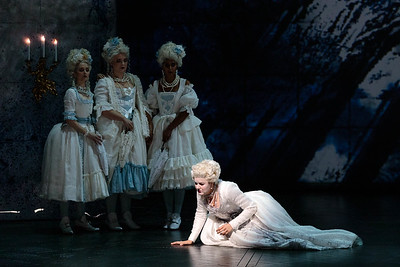(From left) Abigail Paschke, Teresa Perotta, Simran Claire and Yelena Dyachek as  Marie Antoinette Katherine in The Glimmerglass Festival's 2019 production of The Ghosts of Versailles. Photo: Karli Cadel/The Glimmerglass Festival
