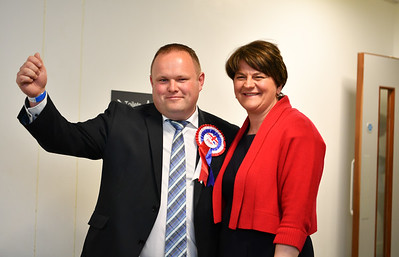 DUP candidate for Enniskillen, Keith Elliott, is congratulated by DUP leader Arlene Foster after being elected to Fermanagh and Omagh District Council.  Picture: Ronan McGrade