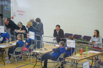 Councillors await the results on the count floor at Omagh Leisure Centre.  Picture: Ronan McGrade