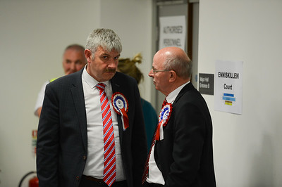 Donald Crawford of the TUV speaking to a party colleague.  Picture: Ronan McGrade