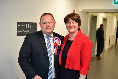DUP councillor Keith Elliott and DUP leader Arlene Foster.  Picture: Ronan McGrade