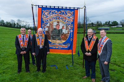 Chris Wheeler, William Little, Derek Kerr and Andrew Kerr with banner carriers Peter Wheeler and George Breen.  Picture: Ronan McGrade
