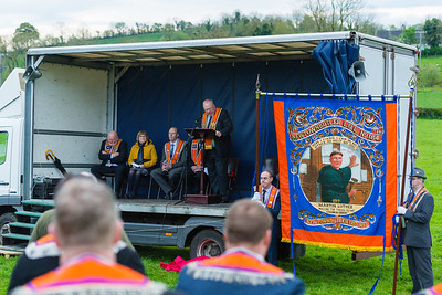Worshipful Brother Rev Mervyn Gibson, the Grand Secretary of the Grand Orange Lodge of Ireland, addresses the crowd at the banner unfurling.  Picture: Ronan McGrade