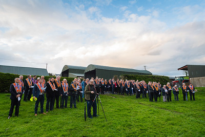 Members from various lodges attended the banner unfurling and dedication at Brown's Field, Lurganboy, Newtownbutler.  Picture: Ronan McGrade