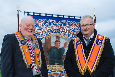 William Little, Sec, and Derek Kerr WM with the banner that was unfurled and dedicated in Newtownbutler.  Picture: Ronan McGrade