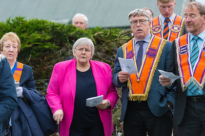 Rosemary Barton MLA attended the banner unfurling with her husband.  Picture: Ronan McGrade
