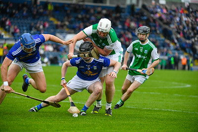 Mark Slevin applies pressure to the Cavan back line.  Photo: Ronan McGrade