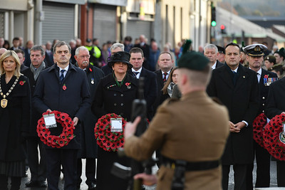 Julian Smith, Secretary of State for Northern Ireland, DUP leader Arlene Foster and Taoiseach Leo Varadkar along with other dignitaries in Enniskillen for the Remembrance Sunday service.  Picture: Ronan McGrade/Pacemaker