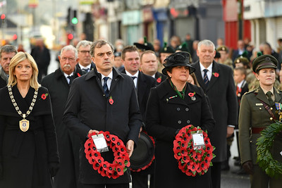 Julian Smith, Secretary of State for Northern Ireland, DUP leader Arlene Foster along with other dignitaries in Enniskillen for the Remembrance Sunday service.  Picture: Ronan McGrade/Pacemaker