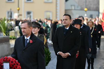 Taoiseach Leo Varadkar in Enniskillen for the Remembrance Sunday service.  Picture: Ronan McGrade/Pacemaker
