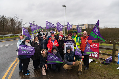 Unison NHS workers join the picket line at South West Acute Hospital, Enniskillen.  Picture: Ronan McGrade