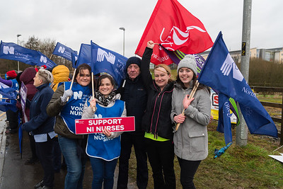 Royal College of Nursing NI and Unite NHS staff, Lisa Kenny. Pauline Dundas, Paul Devine, Elieen Crawford and Niamh Traynor at the picket line in Enniskillen.  Picture: Ronan McGrade