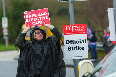A passionate supporter makes her voice heard at the official picket line at the South West Acute Hospital in Enniskillen.  Picture: Ronan McGrade