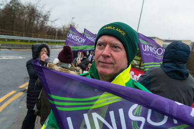 An ambulance worker on the picket line at SWAH, Enniskillen.  Picture: Ronan McGrade