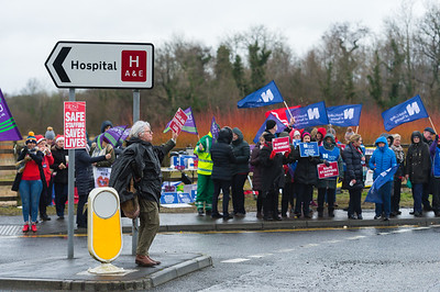 There was a large turn out at the official picket line in Enniskillen.  Picture: Ronan McGrade