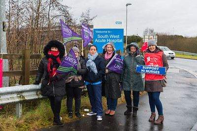 NHS workers from South West Acute Hospital and Lisnaskea Health Centre, from left, Nuala Lindsay, Tara Moran, Colette Coleman, Grainne McElroy, Mary Masterson and Alison Brickley.  Picture: Ronan McGrade