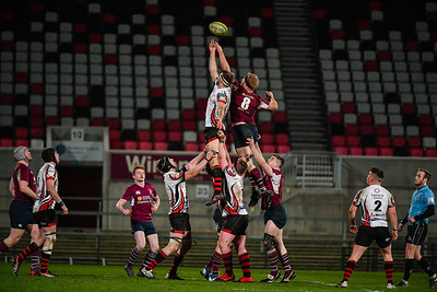 Enniskillen's James Carleton stretches for the ball from the line out.  Picture: Ronan McGrade