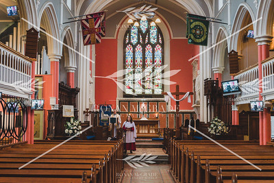Dean Kenneth Hall and Jane McKinley held the first ever online Church service at St Macartin's Cathedral on Easter Sunday morning.  Picture: Ronan McGrade