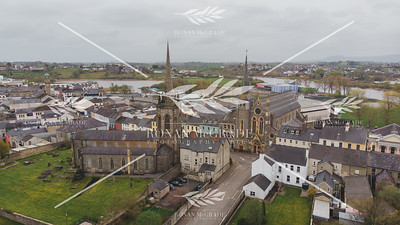 The spires of St Michael's Church and St Macartin's Cathedral are easily recognisable in the Enniskillen skyline as seen on Easter Sunday morning.  Picture: Ronan McGrade