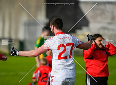Dwayne McNulty celebrates Belnaleck's win.  Picture: Ronan McGrade