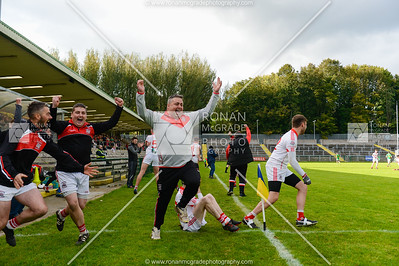 The Belnaleck team celebrate at the final whistle.  Picture: Ronan McGrade