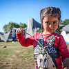 Greece Mainland, April 2016: Rima (3) at Eko Gas Station close to Idomeni where a lot of refugees and migrants are staying in simple tents. Photo: Tiril Skarstein, NRC
