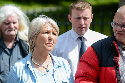 Margaret McGuckin of the Redress For Victims Group protesting at Castlecoole, Enniskillen.  Picture: Ronan McGrade/Pacemaker