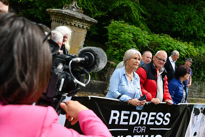 Members and supporters of the Redress For Victims group were protesting at the Garden Party at Castlecoole.  Picture: Ronan McGrade
