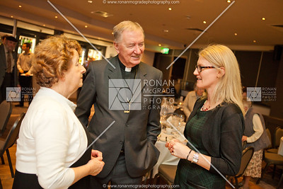 Helen Lanigan Wood (CHS former president) and Bishop Duffy (Chairman of CHS) chat to Nora Bermingham who worked at the Drumclay Crannog.