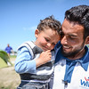 Mustafa has fled from Aleppo, and is currently at Idomeni in Greece. Here he is playing with his nephew Hisham (3). Photo: Tiril Skarstein, NRC<br /> <br /> See also video interview.