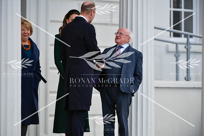 The Duke and Duchess of Cambridge, William and Kate, were greeted by President of Ireland  Michael D Higgins and his wife Sabina at Aras an Uachtarain where they signed a visitors book.  Picture: Ronan McGrade Photography
