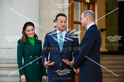 The Duke and Duchess of Cambridge, William and Kate, were greeted caretaker Taoiseach Leo Varadkar and his partner Matthew Barrett at Government Buildings in Dublin.  Picture: Ronan McGrade Photography