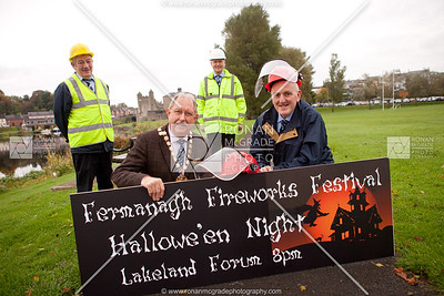Alex Baird and George Beacom (event organiser) launch the Fermanagh Fireworks Festival as Francie Gilleece and Mark Farrell (Health and Saftey Advisors) look on.