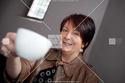 Patricia Rogers enjoys a cup of tea.