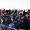 Crowds of people who have recently fled from Mosul