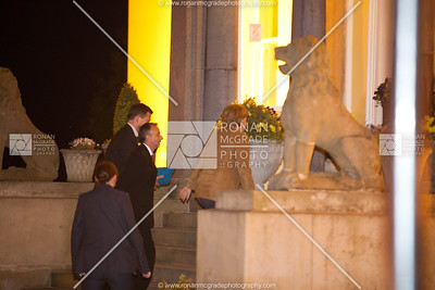 After being greeted by David Begley, German PM, Angela Merkel makes her way up the steps into The Manor House.