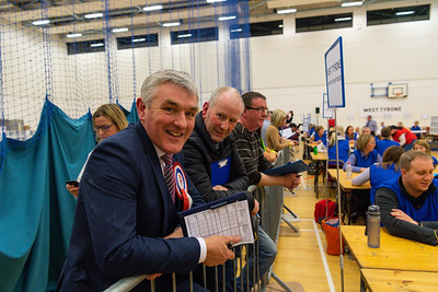 DUP candidate for West Tyrone, David Buchanan, looks on as the count gets underway at the Omagh Leisure Complex Count Centre.  Picture: Ronan McGrade/Pacemaker Press